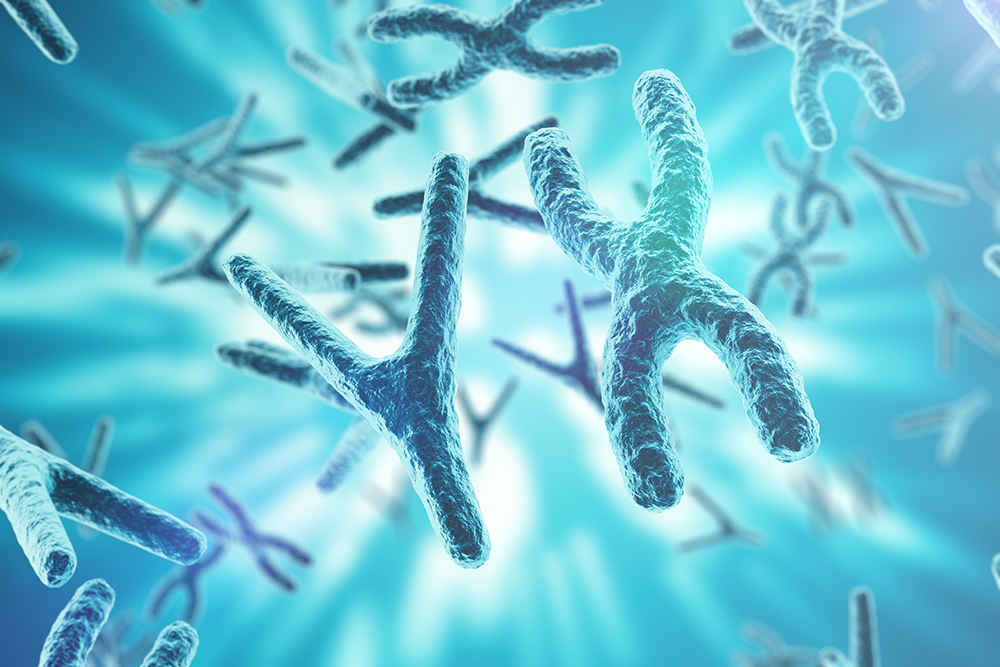Chromosomes on scientific background. Life and biology, medicine scientific concept with focus effect. 3d rendering