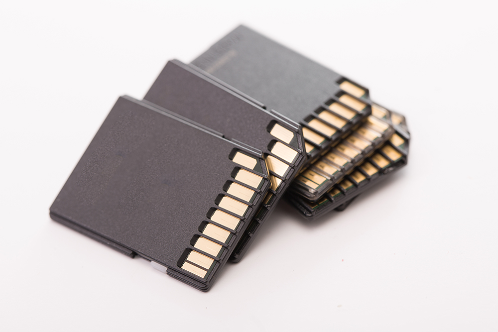 Stack black memory SD card isolated